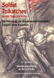 Flyer, Titelseite: Befreite mit Fahne. Text: »Soldat Tolkatchev...«.